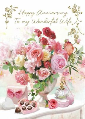 Wedding Anniversary Card - Wife - Pink Bouquet - At Home Ling Design Quality NEW • 2.50£