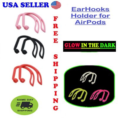 $ CDN5 • Buy EarHooks For Airpods 1,2 & Pro GLOW IN THE DARK / Silicone Flexible/ USA Seller