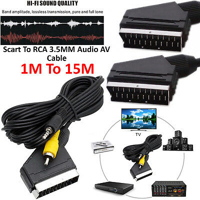 Scart To RCA DOUBLE 2x Phono Cable Composite Audio Video Lead GOLD • 2.77£