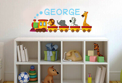 Animal Train Personalised Name Wall Sticker - Children Nursery Art Decal Bedroom • 9.99£