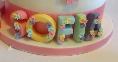Edible Sugar Icing  Letters With Flowers  Cup Cake Toppers Decorations£1 Each • 1£