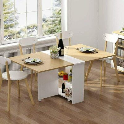 $160.54 • Buy Folding Dining Table, 6 Wheels Movable Dinner Table,Home Kitchen Furniture Decor