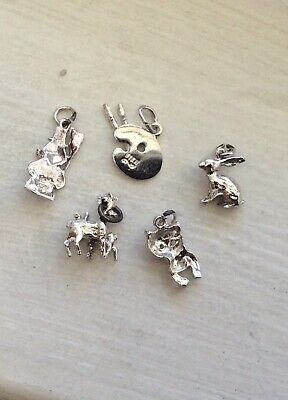 $ CDN12 • Buy MINI'S Deer, Bunny, Painter Palette - 5 Vintage Sterling Bracelet Charm Lot