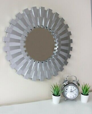 Large 50cm Sunburst Hanging Wall Mirror Silver Unique Decor Round Modern Living  • 13.59£
