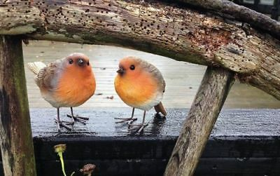 £9.99 • Buy 2pc Red Breast Robin Outdoor Garden Ornaments Bird Statues Resin Home Nature