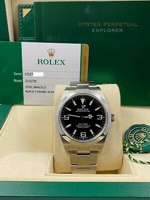 $ CDN10726.14 • Buy BRAND NEW Rolex Explorer 214270 39mm Stainless Steel Black Dial Box Papers 2020