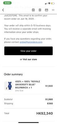 $549.99 • Buy Bearbrick X Clot X Nike 100% & 400% Set Royale University Blue Silk CONFIRMED