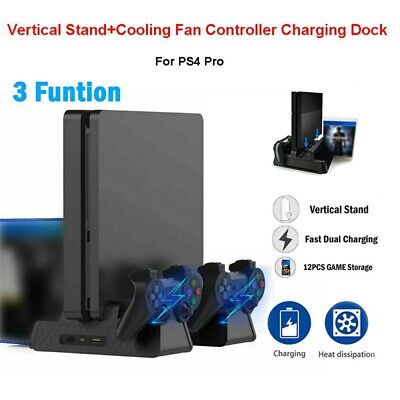 AU37.84 • Buy For PS4 Pro Slim Vertical Stand + Cooling Fan Game Holder Charger Charging Dock
