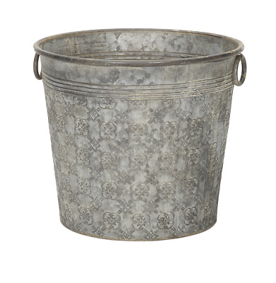 Large Round Patterned Grey Metal Bucket Planter Plant Flower Pot Garden PC • 32.95£