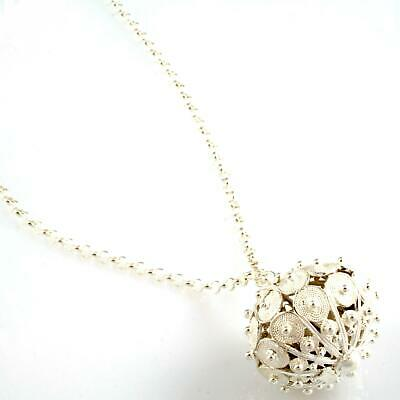 Necklace Mexican Bola Button Sardinian IN Filigree Handcraft Silver • 120.67£