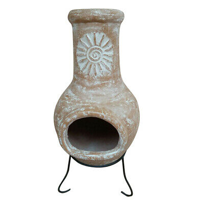 Charles Bentley Outdoor Medium Natural Clay Chiminea Patio Heater • 59.99£