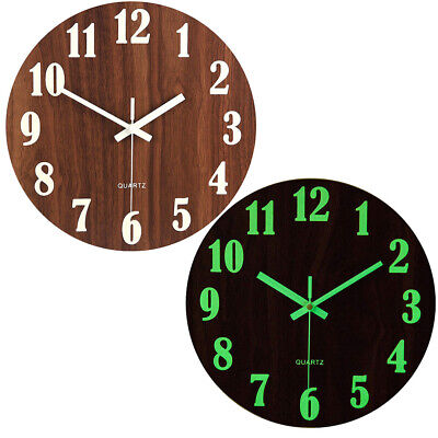 Large Wall Clock Non Ticking Night Light Glowing Luminous Numerals Home Decorate • 12.95£