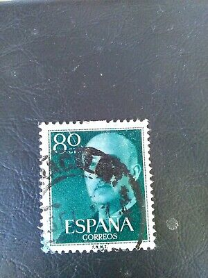 Used Stamp Of Spain 1955 General Franco 80 Cts Green. • 0.99£