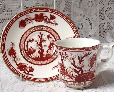 Crown Staffordshire Cabinet Cup & Saucer Ochre Red Indian Tree Pattern • 9.99£