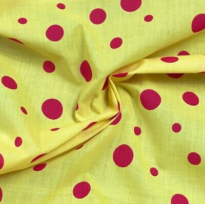 Polycotton Fabric Funky Clown Polka Dots Spots Red Spot On Yellow • 3.10£