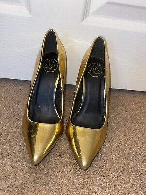 Missguided Gold Metallic PU Pointed Toe High Stiletto Heels Court Shoes Size 3 • 3.80£