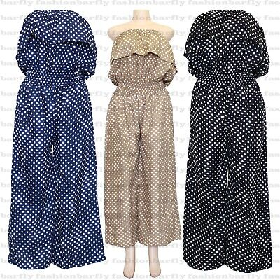 New Women's Summer Playsuit Jumpsuit Wide Leg Dot Bandeau Elasticated • 9.99£