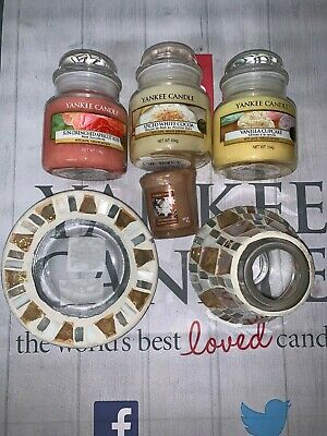 Yankee Candle 3 * Small Jar Candles, 1 Votive, Small Shade & Tray. Large Set 1 • 19.99£