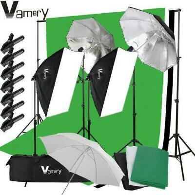 Photography 3 Backdrops+Stand Set Photo Studio Softbox Lighting Video Light Kit • 69.95£