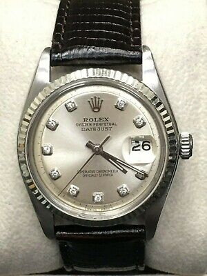 $ CDN4069.01 • Buy Rolex 1601 Datejust Silver Diamond Dial Stainless Steel With Leather Band