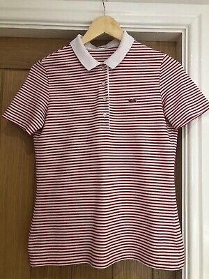 Womens Lacoste Polo Shirt In Red And White Stripe UK 8  • 12£