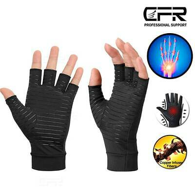 $9.49 • Buy Copper Compression Arthritis Gloves Fingerless For Carpal Tunnel Computer Typing