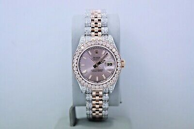 $ CDN15091.66 • Buy Rolex Datejust 26mm Two Tone 18k Rose Gold & Ss Diamond Encrusted Watch 179171