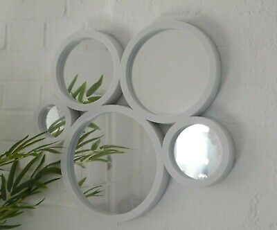 White Mirror Glass Retro Modern Multi Circle Round Wall Art Bathroom Bedroom • 17.95£