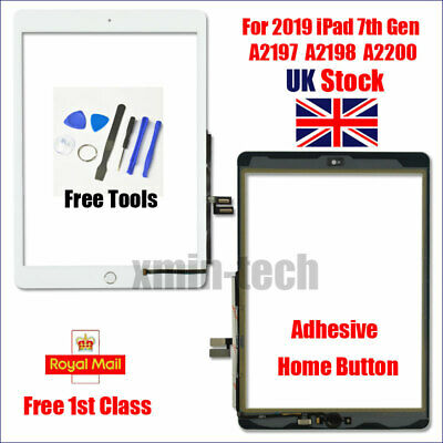 White For IPad 2019 7th Gen 10.2  Screen Replacement Touch Digitizer Home Button • 20.49£
