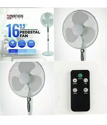 £30.95 • Buy Remote Control Fan Witb Sealing 16  Electric Oscillating Pedestal Air Cooling