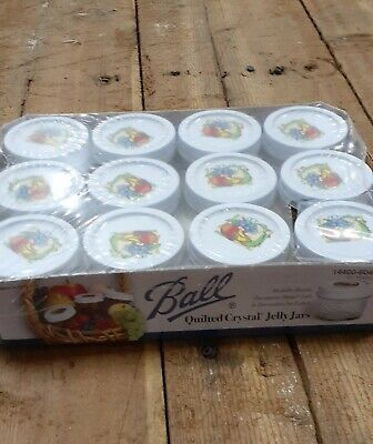 $19.95 • Buy 12 Vintage BALL Quilted Crystal Jelly Jars 4 Oz  Garden Fruits LIDS & LABELS