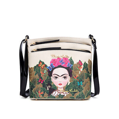 $39.99 • Buy Fk705 Authentic Frida Kahlo Jungle Series Crossbody Messenger Bag~black