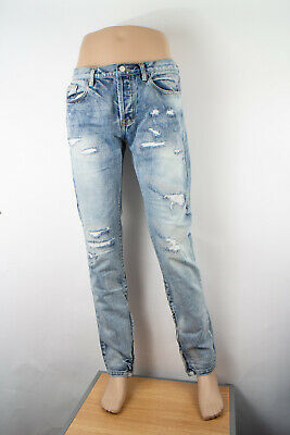 $ CDN51 • Buy Mnml Slim Straight 34 X 34 Men's Denim Jeans Medium Wash Button Fly Distressed