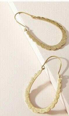 "$ CDN32.47 • Buy ANTHROPOLOGIE DELANEY HOOP EARRINGS NWT GOLD NEW ARRIVAL RET $38 2"" Drop"