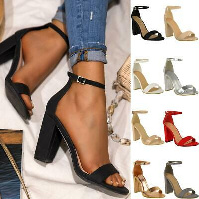£14.99 • Buy Barely There Block Mid High Heels Sandals Strappy Party Prom Clubbing Comfy Size