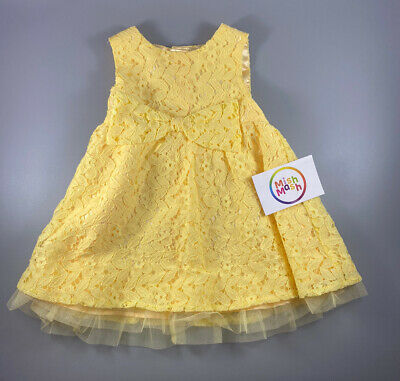 Baby Girl Toddler Beautiful Pretty Yellow Bow Party Summer Lace Wedding Dress  • 6.99£