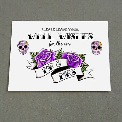 £5 • Buy Well Wishes Sign Sugar Skull Wedding Guest Book Wishing Tree Tattoo Candy Goth