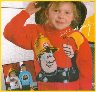£2.10 • Buy KNITTING PATTERN Fireman Sam Jumper X 3 Sweater Childrens Toddlers 22-28in (441)