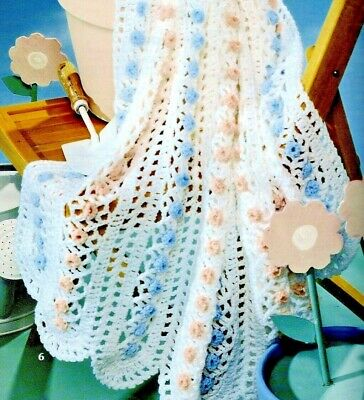£2 • Buy CROCHET PATTERN Christening Shawl Lacy Baby Blanket Floral Cot Pram Cover (1526)