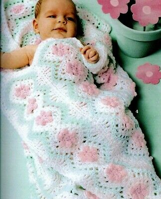£2 • Buy CROCHET PATTERN Christening Shawl Lacy Baby Blanket Floral Cot Pram Cover