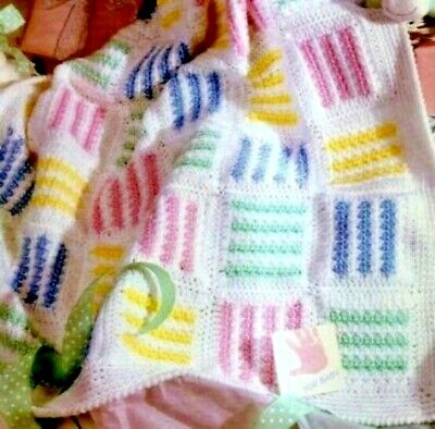 CROCHET PATTERN Baby Blanket Cot Pram Cover Throw 4ply Lacy Patchwork (1779) • 2.10£