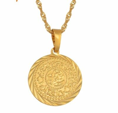 £9.95 • Buy Gold Coin Necklace Muslim Arab Middle Eastern Ancient Gold Plated 18k Chain UK