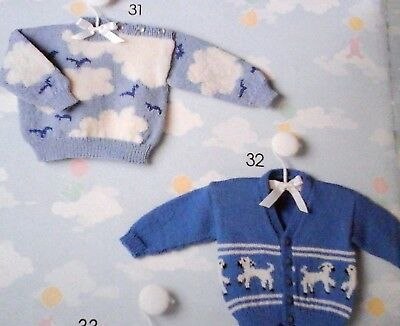 £2 • Buy KNITTING PATTERN Babies Cardigan Lamb Baby Jumper Clouds 18-22in 0-2Y 4ply 1046