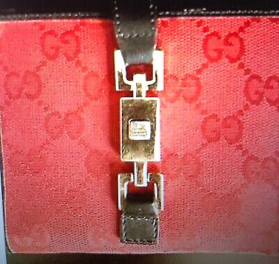 $90 • Buy Authentic Vintage GUCCI Woman's Wallet Fabric With Black LeatherTrim
