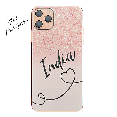 AU12.90 • Buy Personalised Initial Phone Case, Heart And Name Pink Pattern Print Hard Cover