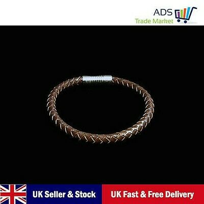 Man Leather Wristband Bracelet Stainless Steel Magnetic Clasp BROWN • 1.99£
