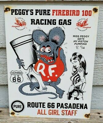 $ CDN272.40 • Buy VINTAGE PORCELAIN  ROUTE  66 CALIFORNIA RAT FINK  GAS AND OIL SIGN 1963 Pure Oil