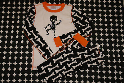$9.99 • Buy Hanna Andersson Halloween Long Johns Set Skeleton Bones Black White Sz 140/10