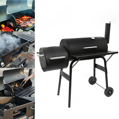 Large Charcoal BBQ Smoker Barrel Grill Foot Cooking Outdoor Garden Barbecue • 69.99£