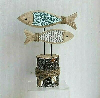 £12.95 • Buy 2 Swimming Fish On A Stand Wooden Ornament Nautical Seaside Coastal Design